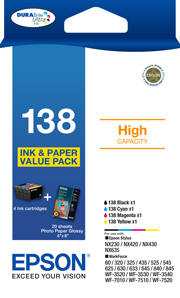 138 - High Capacity DURABrite Ultra - Ink Cartridge Value Pack
