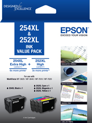 254XL Black + 252XL High Capacity Colours (C, M, Y) - Ink Cartridge Value Pack