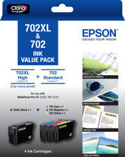 702XL Black + 702 Std Colour (C, M, Y) - Ink Cartridge Value Pack