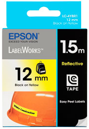 EPSON TAPE REFLECTIVE 12MM BLK ON YLLW 1.5 METRES L/WORKS LW-300, LW-400 & LW-600P
