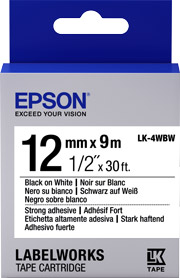 Strong Adhesive 12mm Black on White 9 meters