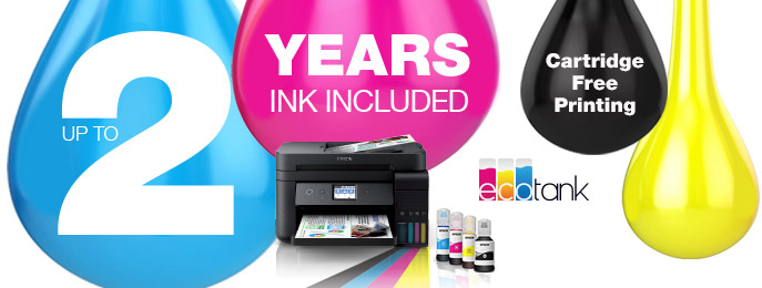Epson EcoTank Printers - Up to 2 Years of Ink Included